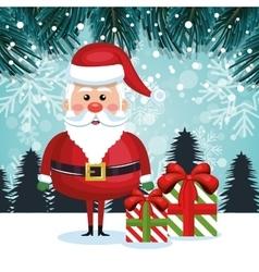 santa cartoon card gifts and snowfall design vector image vector image