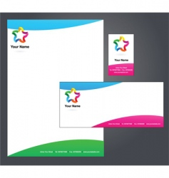 stationery template with star logo vector image vector image