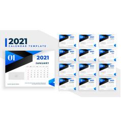 2021 blue happy new year calendar template design vector