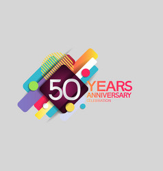 50 years anniversary colorful design with circle vector