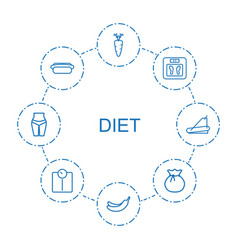 8 diet icons vector