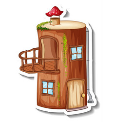A sticker template with fantasy log house isolated vector
