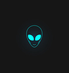 alien face icon logo design isolated on black vector image
