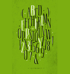 alphabet gothic font green vector image
