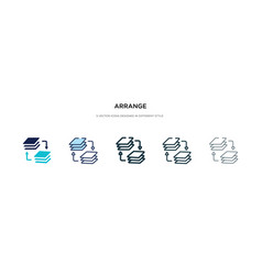 Arrange icon in different style two colored and vector