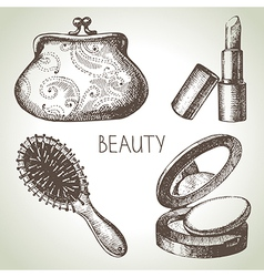 Beauty sketch icon set vector
