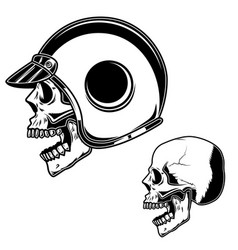 biker skull in racer helmet for logo label sign vector image
