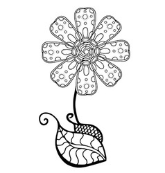 Black and White Flower Sketch vector image