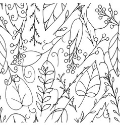 black doodle leaves and berries seamless pattern vector image