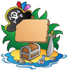 Board on pirate island vector