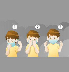 boy wearing mask for protect pollution vector image