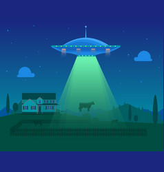 cartoon aliens spaceship or ufo takes cow vector image