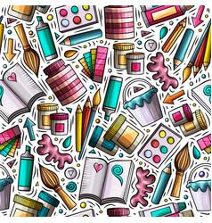 cartoon cute hand drawn design and art seamless vector image