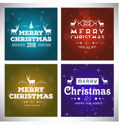 Chrismtas typographic sets vintage vector
