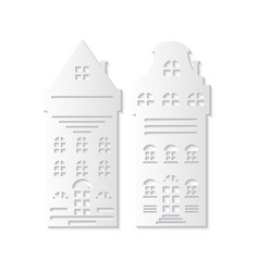 christmas paper cut two white buildings vector image