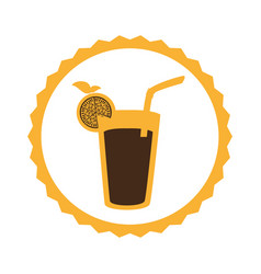 circular frame with cocktail drink with lemon vector image
