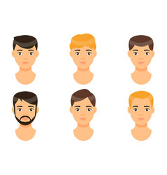 Collection avatars young guys men with brown vector