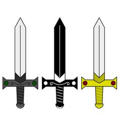 collection cartoon medieval swords set vector image