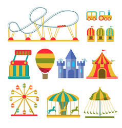 Collection of attractions and amusement park vector