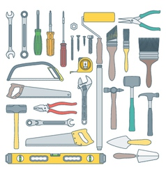 color outline various house remodel instruments vector image