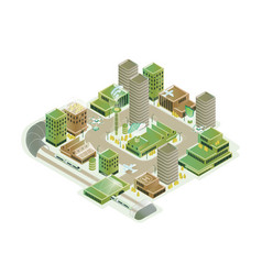colorful smart city isometric model vector image