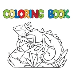 Coloring book of little iguana vector