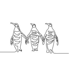continuous line drawing three penguins group of vector image