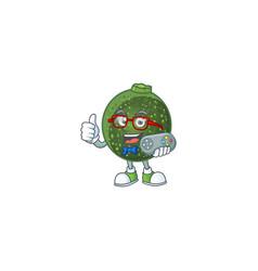 Cool geek gamer gem squash cartoon character vector