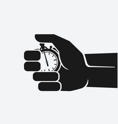 countdown stopwatch in hand on white background vector image