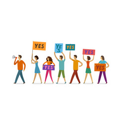 crowd of people with banner and poster walking on vector image