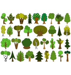 Cute doodle trees tree doodles set isolated on vector image