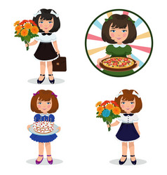 cute little beautiful girl vector image