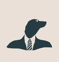 Dachshund dog dressed up in black suit vector