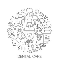 Dental care in circle - concept line vector