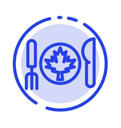 Dinner autumn canada leaf blue dotted line line vector