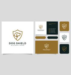 dog shield hipster vintage logo and business card vector image
