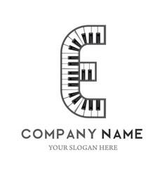 E letter logo design piano keyboard logo vector