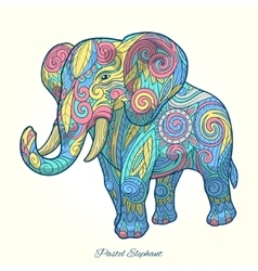Elephant pastel color ornament ethnic vector image