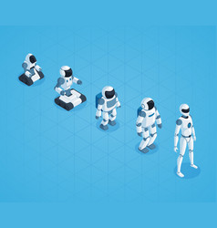 Evolution of robots isometric design vector