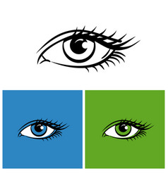 eyes isolated on white green and blue background vector image