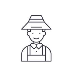 farmer line icon concept farmer linear vector image