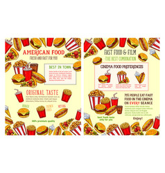 fast food restaurant and burger cafe poster design vector image