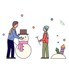 father and son sculpting snowman outdoors vector image