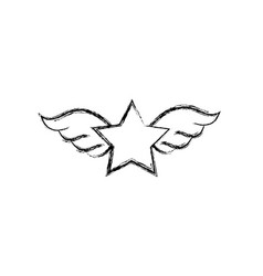 Figure star with wings rock symbol art vector