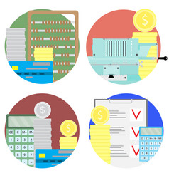 financial audit and money account set icons vector image