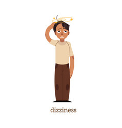 flat man with dizziness vector image