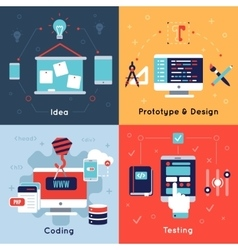 Flat Programm Development Icon Set vector image