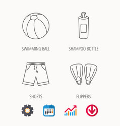 Flippers swimming ball and trunks icons vector