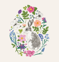 floral composition with a rabbit vector image