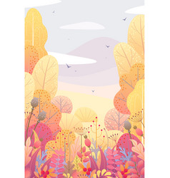 Floral vertical background with autumn leaves vector